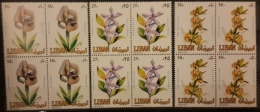 R2 - Lebanon 1984 Mi. 1321-1323 MNH - Flowers - Blks/4 - Lebanon