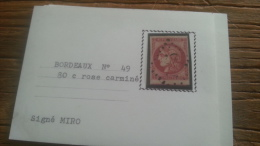 LOT 250704 TIMBRE DE FRANCE OBLITERE N�49C VALEUR 500 EUROS ROSE CARMINE SIGNE MIRO