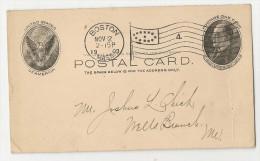 USA - 1913 ENTIRE From BOSTON - FLAG Cancel - Postal Stationery