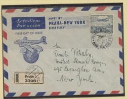 O) 1940 CZECH REPUBLIC, FIRST FLIGHT PRAHA NEW YORK, XF - Czech Republic