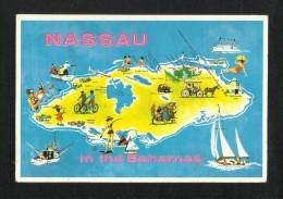 Nassau Bahamas Picture Postcard Car Horse Animal Ship Map  View Card - Postcards