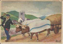 Le Pays Basque (recorriendo El Pais Vasco )  Antique Chariot A Quatre Roues De Bois Pleines - Espagne