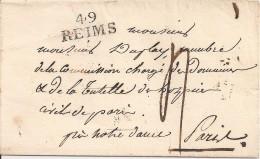51 LETTRE DE REIMS N° 49 DU 12 JUIN 1822 ADRESSEE A PARIS - 1801-1848: Voorlopers XIX