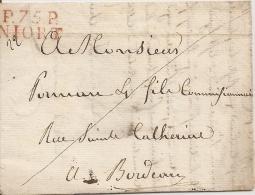 79 LETTRE DE NIORT P 75 P 1823 ADRESSEE A BORDEAUX - Postmark Collection (Covers)