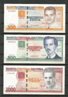 Cuba 2010 $200, $500 and $1000 Pesos Uncirculated Banknotes UNC