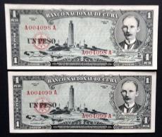 CUBA. Consecutive pair 2 x 1 peso 1956. Pick 87a. Low serial N*.