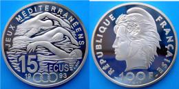 FRANCIA 100 F 1993 ARGENTO PROOF JEUX MEDITERRANEENS 15 ECU PESO 22,2g TITOLO 0,900 CONSERVAZIONE FONDO SPECCHIO CON GAR - K. 10 Franchi