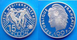 FRANCIA 100 F 1993 ARGENTO PROOF JEUX MEDITERRANEENS CALCIO 15 ECU PESO 22,2g TITOLO 0,900 CONSERVAZIONE FONDO SPECCHIO - K. 10 Franchi