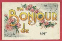 Genly - Un Bonjour De ...  - Jolie Fantaisie Avec Des Fleurs - 1945 ( Voir Verso ) - Quévy