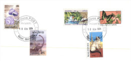 (101) Madive Island FDC Cover - Mix Stamps X 2 Covers (cats - Dinosaure - Butterfly - Snails Erc) - Turtles