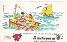 BUVARD. PUBLICITE LA VACHE QUI RIT. LE PECHEUR  . N°9 - Alimentaire