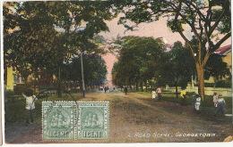 Guyana British Guiana  Georgetown  A Road Scene 2 Stamps To Las Palmas Gran Canaria Edit The Argozy - Cartes Postales
