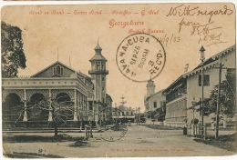 Guyana British Guiana Georgetown Tower Hotel Post Office G. Club P. Used Barbados 1903 To Cuba Via New York - Cartes Postales