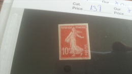 LOT 250762 TIMBRE DE FRANCE NEUF* N�138 NON DENTELE