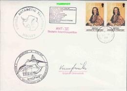 British Antarctic Territory 1988 Halley Cover Diff. Ca + Signature (20430) - Brits Antarctisch Territorium  (BAT)