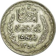Monnaie, Tunisie, Ahmad Pasha Bey, 5 Francs, 1939, Paris, SUP+, Argent, KM:264 - Tunisie