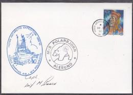 British Antarctic Territory 1990 Halley Cover Ca M/S Polarbjorn Ca Indian Antarctic Expedition 1989/90 Signature (20433) - Britisches Antarktis-Territorium  (BAT)