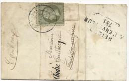 1869 - EMPIRE 1c SEUL Sur BANDE JOURNAL De CAMBRAI (NORD) Pour FONTAINE AUPIRE Avec RETOUR  - COTE MAURY = 200+ EUROS - Postmark Collection (Covers)