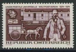 """Oostenrijk Austria Österreich 1974 Mi 1466 YT 1295 ** Postman (1874) + Mail Transport (19th C.) / """"Carriolwagen"""" - UPU - U.P.U."""