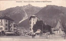CPA : 74 . CHAMONIX . AVENUE DE LA GARE. LE BREVENT ET EGLISE ANGLAISE - Chamonix-Mont-Blanc