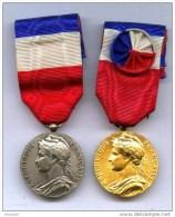 MEDAILLE  DU  TRAVAIL  TITRE  ARGENT & OR ( lot de 2 medailles)