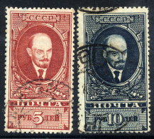 SOVIET UNION 1925 Lenin 5 R. And 10 R. Definitive Perforated 12½, Used. Michel 296-97 A X - 1923-1991 USSR