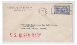"-- FRANCE -- POSTE MARITIME -- LETTRE DE NEW YORK POUR LEVALLOIS --- MARQUE LINEAIRE ""S.S. QUEEN MARY ""-- 1937 -- - 1849-1876: Classic Period"