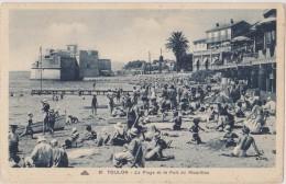 Cpa,TOULON,var,la Plage Et Le Fort Mourillon En 1920,touristes Et Enfants Heureux,aprés Guerre,83 - Toulon