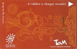 Ticket autobus & tramway - TAM  Transports de l'Agglom�ration de Montpellier) 1 voyage (17-01-2015)