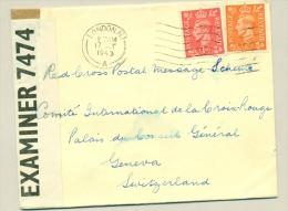 UK - 1943 -  Censored Cover London To Red Cross In Geneva - 1902-1951 (Koningen)