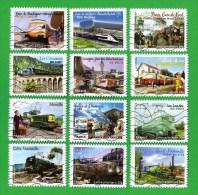 162**  FRANCE 2014 Série Complete X 12 Timbres Oblitérés Adhesifs LES TRAINS /  TRAIN ZUG TREIN TAG - Adhesive Stamps