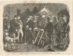 Espana, Revolucion, 1874, Roma, Arresto Dei Carlisti In Via Marforio, Litografia Cm. 23 X 18. - Documentos Históricos