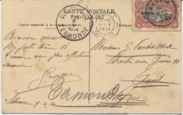 TP 10c S/CP Elisabethville-camp Militaire C.Sakania En 1914 V.Gent Réexpédié V.Dendermonde PR1947