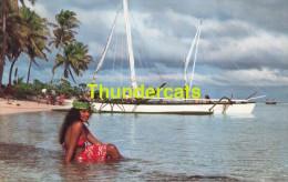 CPSM TAHITI  REPOS ET BAIN APRES LA PECHE AUX CAILLOUX BORA BORA AFTER STONE FISHING - Tahiti