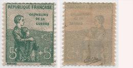 Yvert 149 - (5c + 5c. Orphelins) Neuf Sans Trace De Charnière - Signé Calves - France