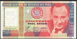 PERU  P142  50.000  INTIS  1988  IPS Roma    UNC. - Peru