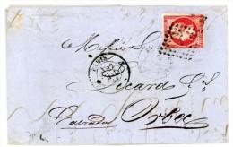 N° 17B SEUL SUR LETTRE PARIS 1864 COTE YVERT 2007 = 120 EUROS - 1849-1876: Classic Period