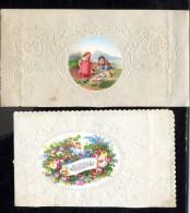 AMITIE  SCENE ENFANTINE AVEC DES LAPINS   -   2  IMAGES ANCIENNES GAUFREES - Old Paper