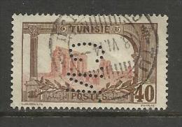"TUNISIE , Protectorat Français ; Perforé , Perfin ; "" C.N. "" , 40 C ,Aqueduc Romain De Zaghouan , 1906 - 1920 , N° YT 38 - Tunisie (1888-1955)"
