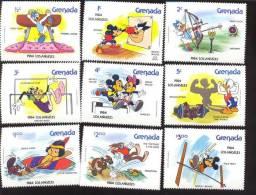 GRENADA 1185-93  MINT NEVER HINGED SET OF STAMPS OF DISNEY OLYMPOCS; LOS ANGELES 1984  #  S-227 NO RINGS - Disney