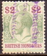 British Honduras 1913 SG #109 $2 Used Fiscal Cancel, Thin CV £130 Spacefiller - British Honduras (...-1970)