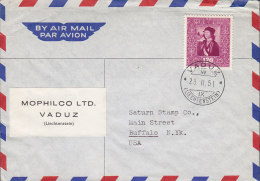 Liechtenstein Airmail Par Avion MOPHOLCO Label VADUZ 1951 Cover Lettre BUFFALO United States Etats Unis Raffael Timbre - Liechtenstein