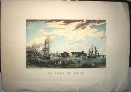 LITHO GRAVURE LE PORT DE BREST - 1er EMPIRE - Lithographies
