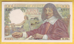 BILLET FRANCAIS - 100 Francs Descartes 20.7.1944 NEUF - 1871-1952 Circulated During XXth
