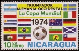 "Nicaragua World Cup Overprinted  ""TRIUMFADOR ALEMANIA OCCIDENTAL"" Sc C856 MNH 1974 - Coppa Del Mondo"