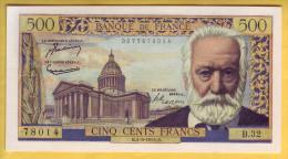 BILLET FRANCAIS - 500 Francs Victor Hugo 2.9.1954 SUP+ - 1871-1952 Antichi Franchi Circolanti Nel XX Secolo