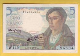 BILLET FRANCAIS - 5 Francs Berger 5.4.1945  SPL - 5 F 1943-1947 ''Berger''