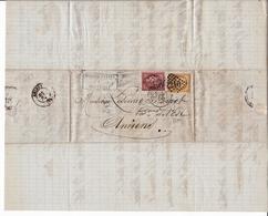 Lettre Marseille Pour Amiens Cères 10c + Cérès 15c Rivoire Marseille Bouches Du Rhône 1875 - 1871-1875 Ceres