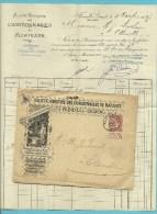 """57 op Geillustraarde brief met stempel FLEMALLE , illustratie: """"Societe anonyme des Charbonnages de MARIHAYE"""" + inhoud"""