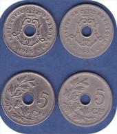 BELGIQUE*LEOPOLD II * 5 CENTIMES*CUPRO NICKEL*1905 (francaise) + 1905 (flamande) -  LOT N° 0179 - 1865-1909: Leopold II